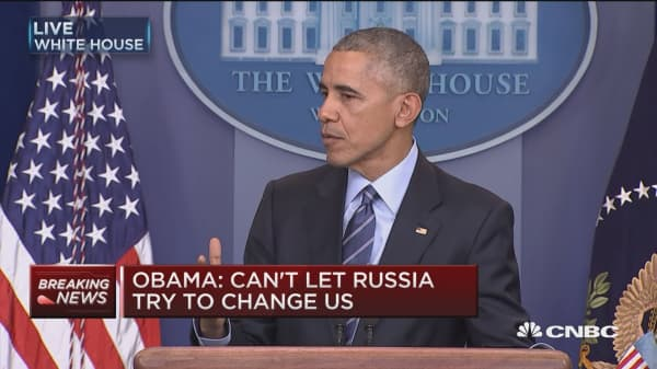 Obama: Can't let Russia try to change us
