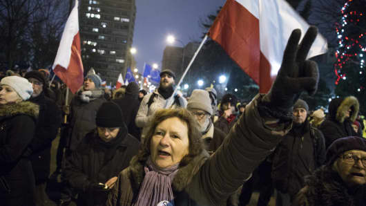 A woman during second day of protest near Polish Parliament in Warsaw.