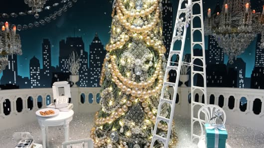 Holiday window display at Tiffany & Co. in New York City.