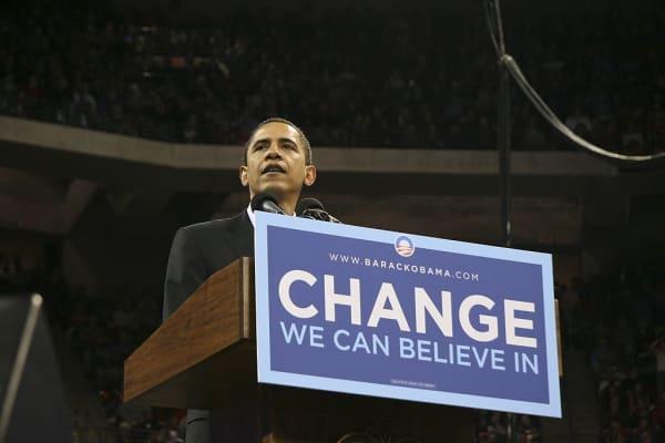 Then Senator Barack Obama campaigning for President in 2008.