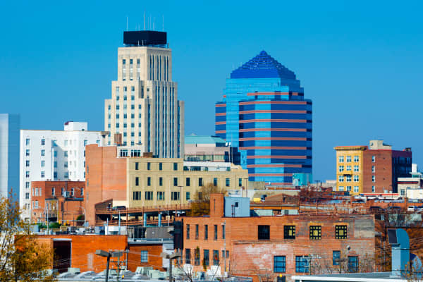 Durham, NC skyline with the Hill building on the left and Durham Center on the right.
