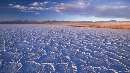 The Salar de Atacama salt flats in Chile.