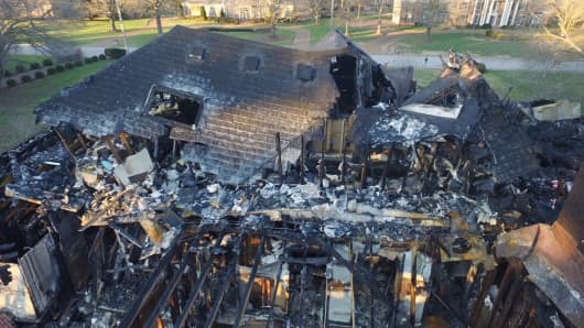 Tennessee family's house that burned down from a hoverboard that caught on fire.