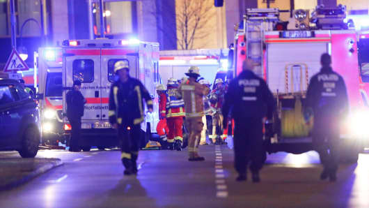 DATE IMPORTED:December 19, 2016Police and emergency workers are at the site of an accident at a Christmas market on Breitscheidplatz square near the fashionable Kurfuerstendamm avenue in the west of Berlin, Germany, December 19, 2016.