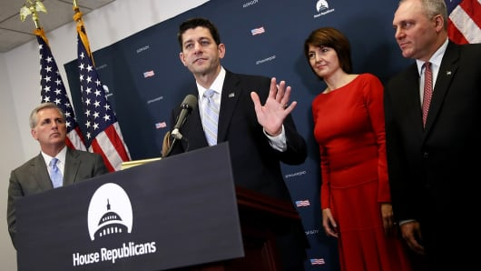 Speaker of the House Paul Ryan (R-WI) answers questions during a press conference at the U.S. Capitol November 15, 2016 in Washington. Also pictured are (L-R) House Majority Leader Kevin McCarthy (R-CA), Republican Conference Chairman Cathy McMorris Rodgers (R-WA), and House Republican Whip Steve Scalise (R-LA).