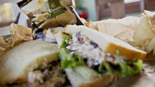 A Panera Bread Co. sandwich and chips are arranged for a photograph in Tiskilwa, Illinois.