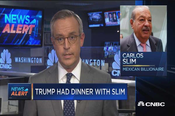 Donald Trump has dinner with Mexican billionaire Carlos Slim