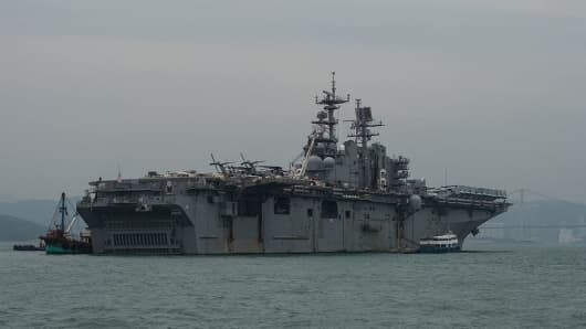 A general view shows the USS Bonhomme Richard, during a port call in waters off Hong Kong.