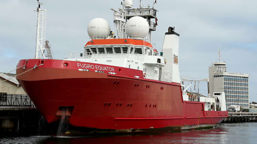 The 'Fugro Equator' returns to Fremantle Harbour for resupply on August 12, 2015 in Fremantle, Australia. The research vessel is part of MH370 search operations in the southern Indian Ocean.