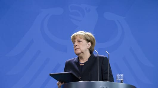 German Chancellor Angela Merkel gives a press statement at the Chancellery in Berlin, Germany on December 20, 2016.