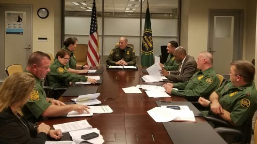 Mark Morgan in a transition meeting at the CBP Headquarters