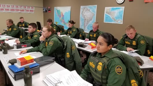 Future agents in Spanish class at the U.S. Border Patrol academy