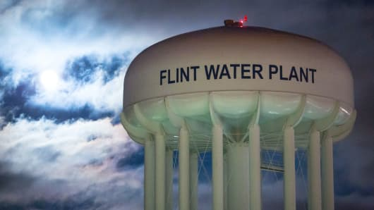 The City of Flint Water Plant is illuminated by moonlight on January 23, 2016 in Flint, Michigan.