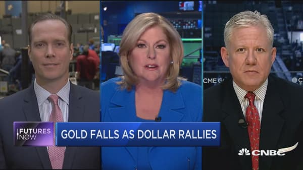 Futures Now: Gold falls as dollar rallies