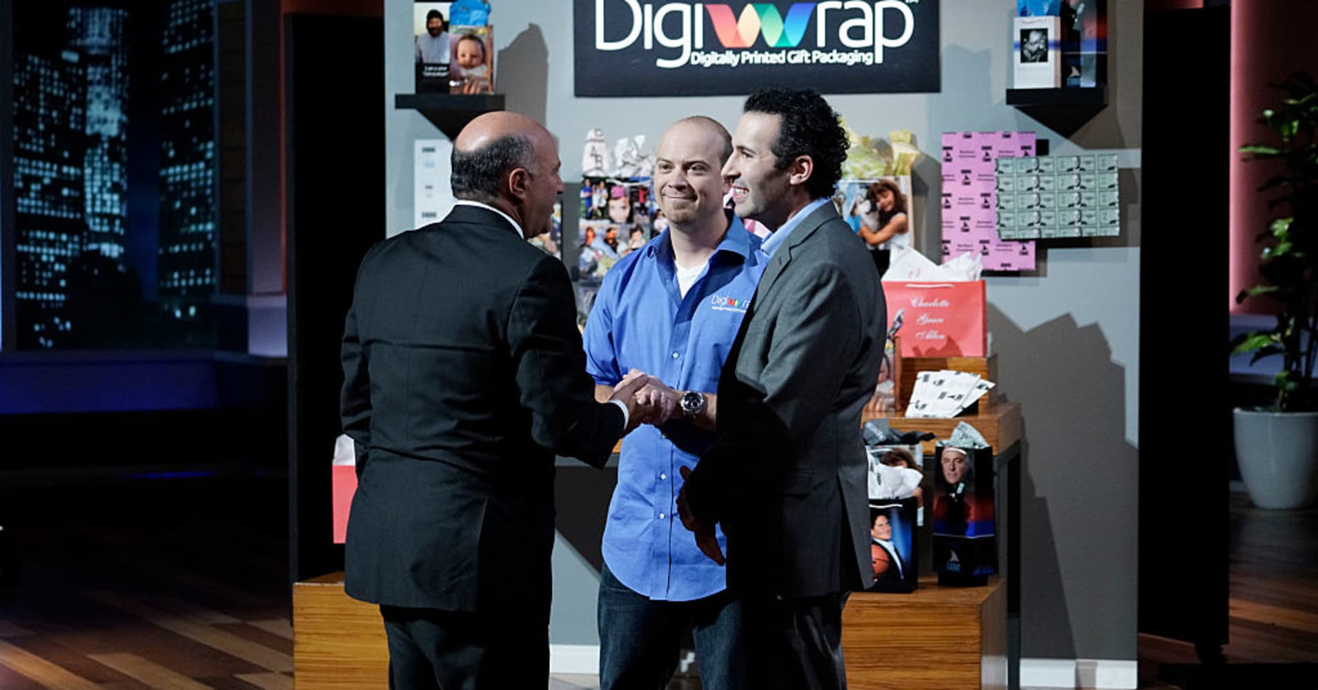 Charlie Williams and Brad Boskovic of DigiWrap making a deal with Kevin O'Leary.