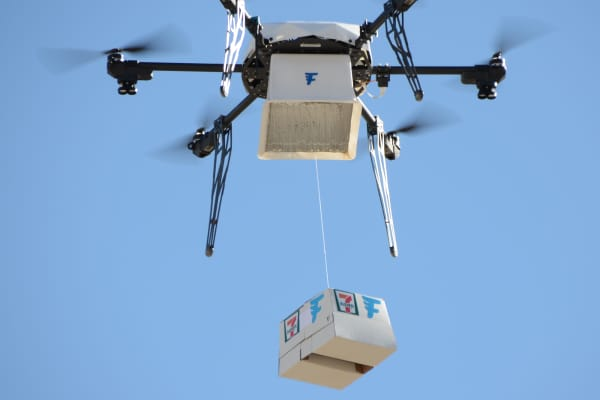 Seventy-seven customers in Reno, Nevada who lived within a mile of a store received items ordered from 7-Eleven delivered to their doorsteps via start-up Flirtey's drones in 2016.