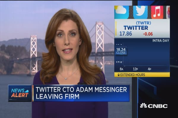 Twitter CTO Adam Messinger leaving firm