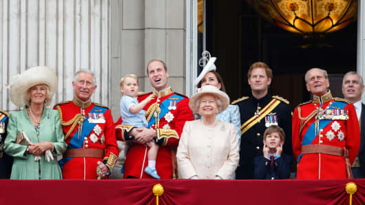 Camilla, Duchess of Cornwall, Prince Charles, Prince of Wales, Prince William, Duke of Cambridge, Prince George of Cambridge, Catherine, Duchess of Cambridge, Queen Elizabeth II, Prince Harry, James, Viscount Severn and Prince Philip, Duke of Edinburgh stand on the balcony of Buckingham Palace during Trooping the Colour on June 13, 2015 in London, England. The ceremony is Queen Elizabeth II's annual birthday parade and dates back to the time of Charles II in the 17th Century, when the Colours of a regiment were used as a rallying point in battle.
