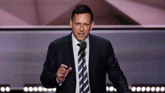 Peter Thiel, co-founder of PayPal and Palantir, at the Republican National Convention on July 21, 2016 at the Quicken Loans Arena in Cleveland, Ohio.