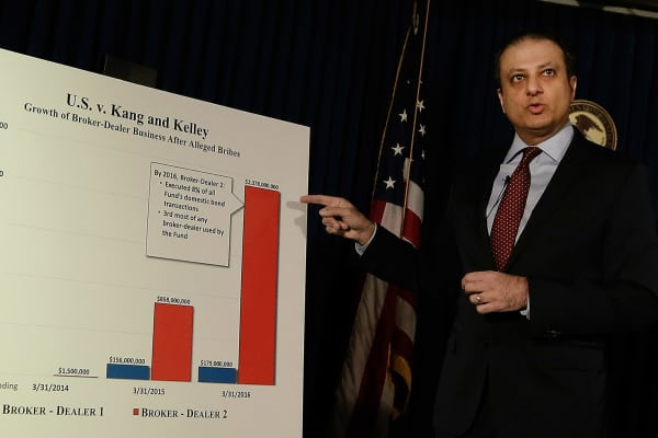 Preet Bharara, U.S. attorney for the Southern District of New York, speaks during a press conference in New York, U.S., on Wednesday, Dec. 21, 2016.