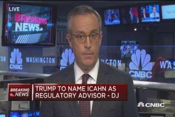 Trump to name Icahn as regulatory advisor: DJ