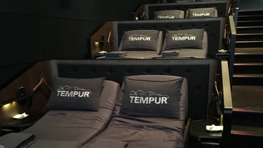 Reclining Tempur beds at the CJ CGV cinema in the Gangnam, Seoul, South Korea.