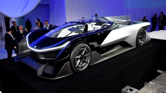 The Faraday Future FFZero1 concept vehicle is unveiled during the 2016 Consumer Electronics Show in Las Vegas, Nevada, Jan. 4, 2016.