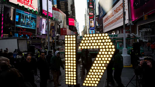 The numerals '17' are lit up in Times Square ahead of the New Year's Eve celebration in Times Square, December 15, 2016 in New York City.