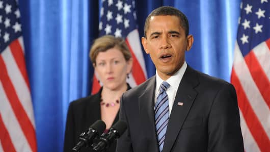 President Barack Obama and top White House health-care reform official Jeanne Lambrew.