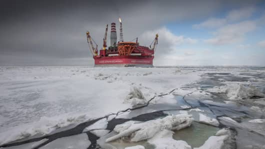 A file photo of an offshore ice-resistant oil-producing platform.