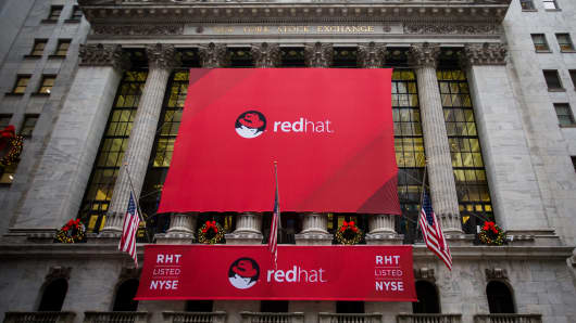 Red Hat signage is displayed outside of the New York Stock Exchange.