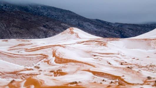 Snow in the Sahara desert near the town of Ain Sefra, Algeria Dec 20.