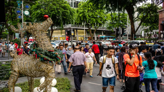 Shoppers in Singapore's Orchard road