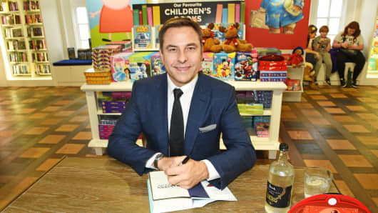 David Walliams signs copies of his books 'Grandpa's Great Escape' and 'The Bear Who Went Boo' at Harrods