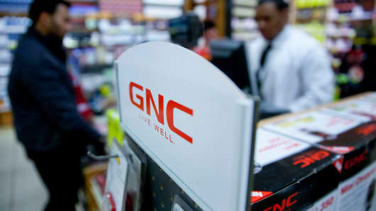 A customer at a GNC Holdings store in New York.