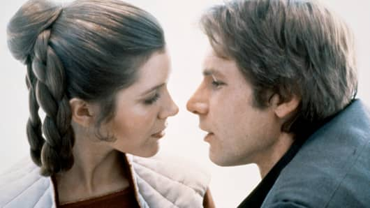 "Carrie Fisher and Harrison Ford on the set of ""Star Wars: Episode V - The Empire Strikes Back."""
