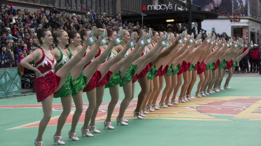 Rockettes perform at the annual Macy's Thanksgiving Day Parade on November 24, 2016.