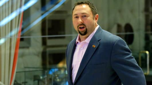 Jason Miller arrives at the Trump Tower for meetings with US President-elect Donald Trump, in New York on November 17, 2016.
