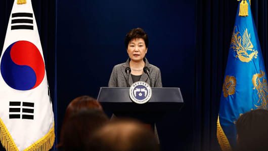 South Korean President Park Geun-Hye makes a speech during an address to the nation, at the presidential Blue House in Seoul on November 29, 2016.