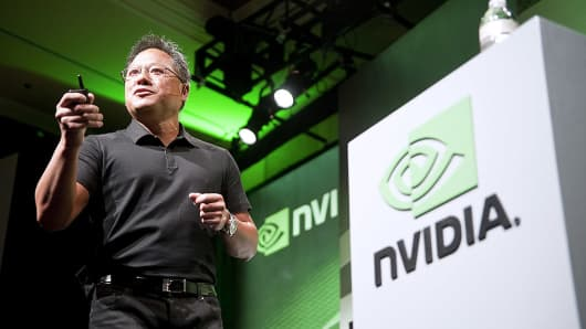 Jen-Hsun Huang, chief executive officer and co-founder of Nvidia, speaks at an International Consumer Electronics Show in Las Vegas.