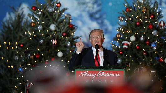 President-elect Donald Trump speaks during a stop on his 'USA Thank You Tour 2016.' at the Orlando Amphitheater at the Central Florida Fairgrounds on December 16, 2016 in Orlando, Florida.