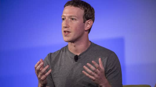 Mark Zuckerberg, chief executive officer and founder of Facebook Inc., gestures as he speaks during a session at the Techonomy 2016 conference in Half Moon Bay, California, U.S., on Thursday, Nov. 10, 2016.