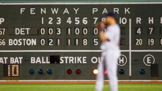 Scoreboard at Fenway Park, Boston.