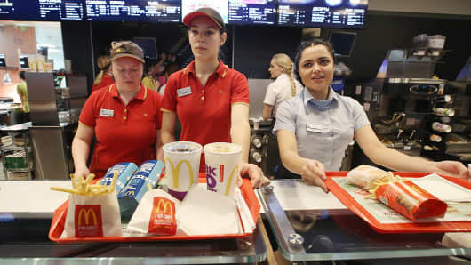 Workers of McDonald's fast food restaurant.