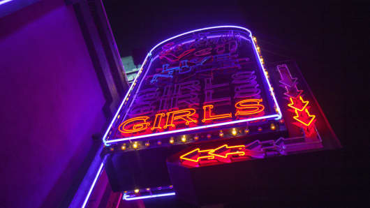 Strip club, Girls neon sign, Los Angeles, California, USA