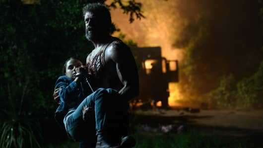 "Hugh Jackman and Dafne Keen in ""Logan."""