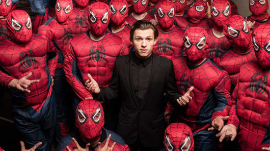 Tom Holland and an army of Spider-Men invade Hollywood to debut the Columbia Pictures' Spider-man: Homecoming trailer on December 8, 2016.