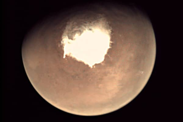 Mars as seen by the webcam on ESA's Mars Express orbiter on 16 October 2016, as another mission, ExoMars, is about to reach the Red Planet.