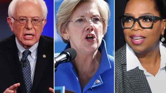 Bernie Sanders, Elizabeth Warren, Oprah Winfrey