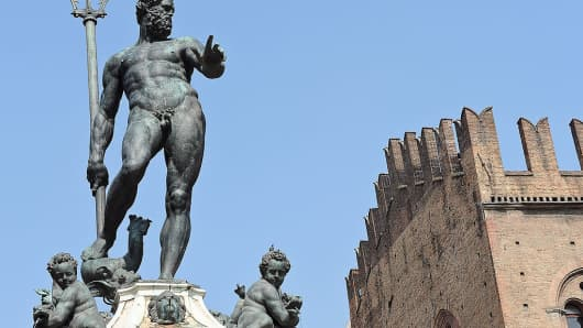 A view of the Fountain of Neptune, in Bologna. The bronze statue of the sea god, called by the people ' Il Gigante ' (The Giant) is 3.20 meters high and weighs 22 tons.